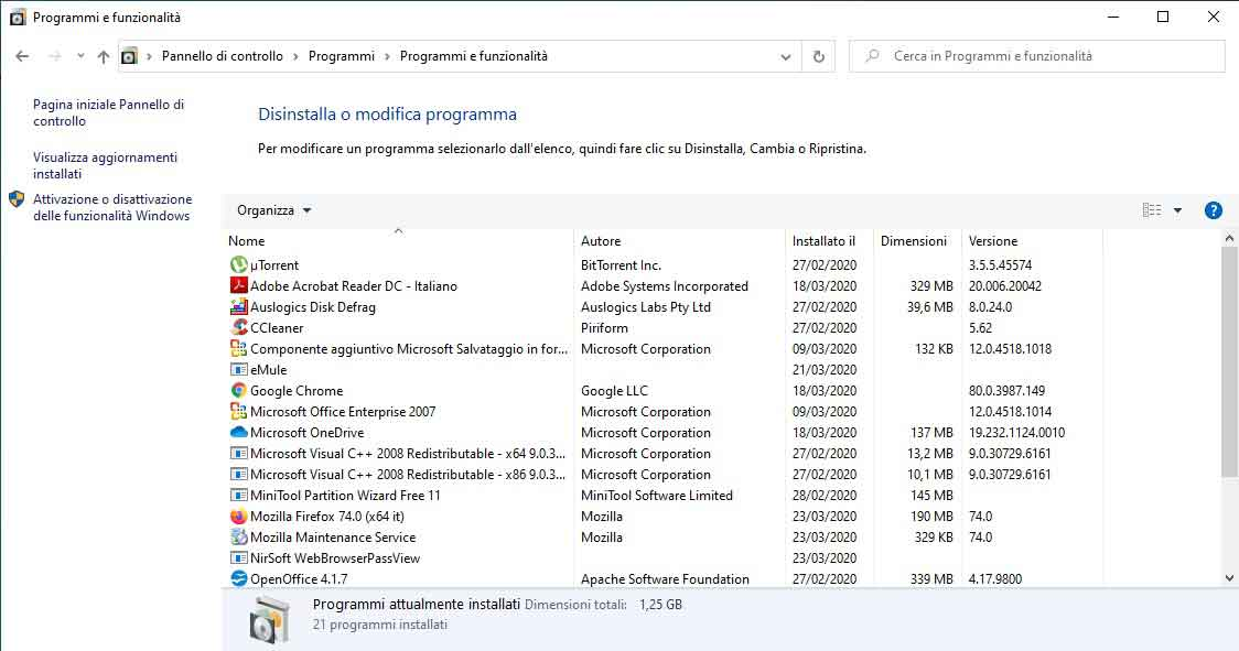 come disinstallare programmi su windows