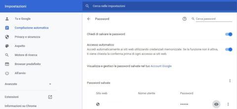 come trovare le password memorizzate nel browser